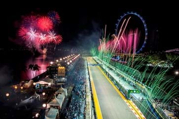 A spectacular fireworks display at the end of the race.JPG